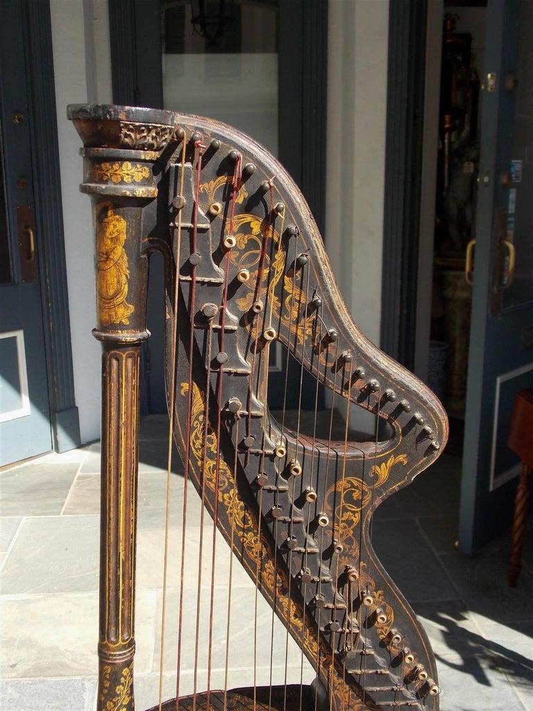 Hand-Carved English Regency Gilt Figural and Ebonized Dital Harp, Maker E. Light, Circa 1815 For Sale