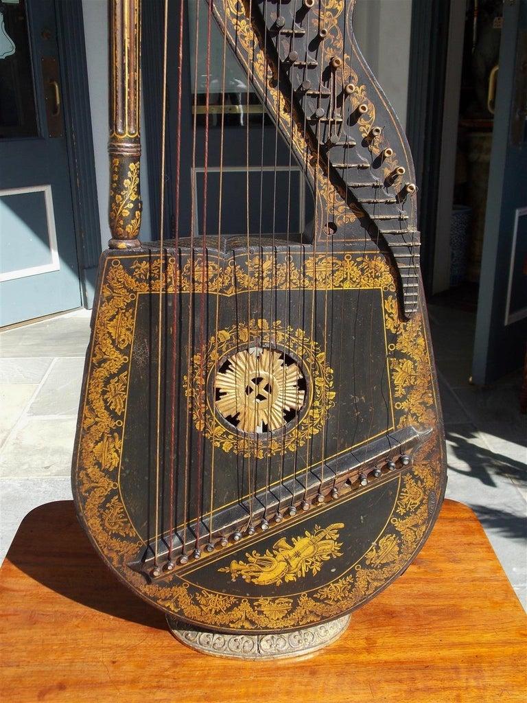 English Regency Gilt Figural and Ebonized Dital Harp, Maker E. Light, Circa 1815 In Good Condition For Sale In Charleston, SC