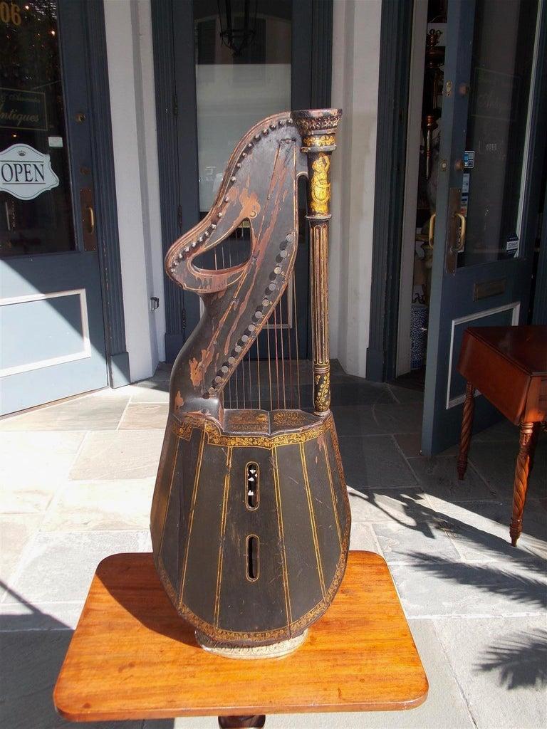 Early 19th Century English Regency Gilt Figural and Ebonized Dital Harp, Maker E. Light, Circa 1815 For Sale