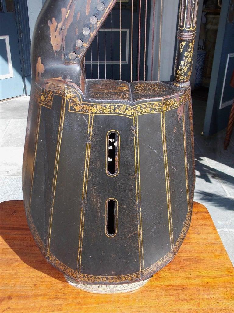 String English Regency Gilt Figural and Ebonized Dital Harp, Maker E. Light, Circa 1815 For Sale