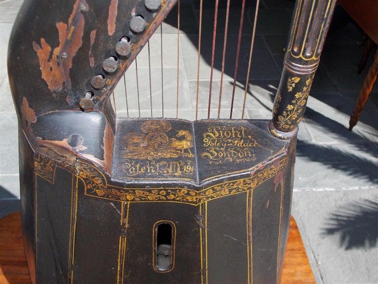 English Regency Gilt Figural and Ebonized Dital Harp, Maker E. Light, Circa 1815 For Sale 1
