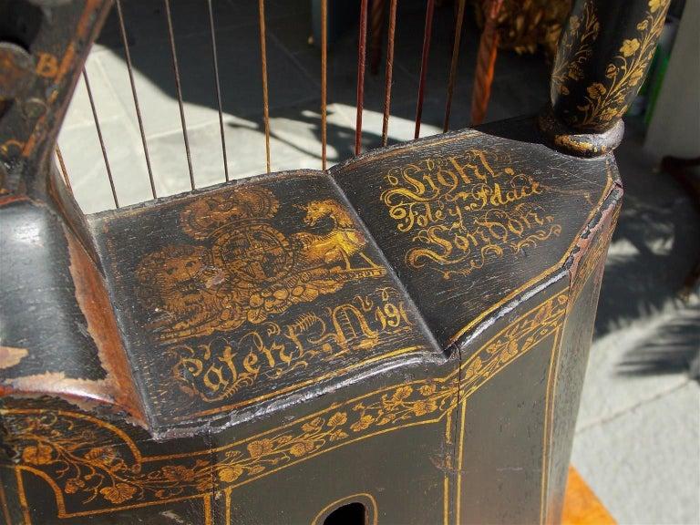 English Regency Gilt Figural and Ebonized Dital Harp, Maker E. Light, Circa 1815 For Sale 2