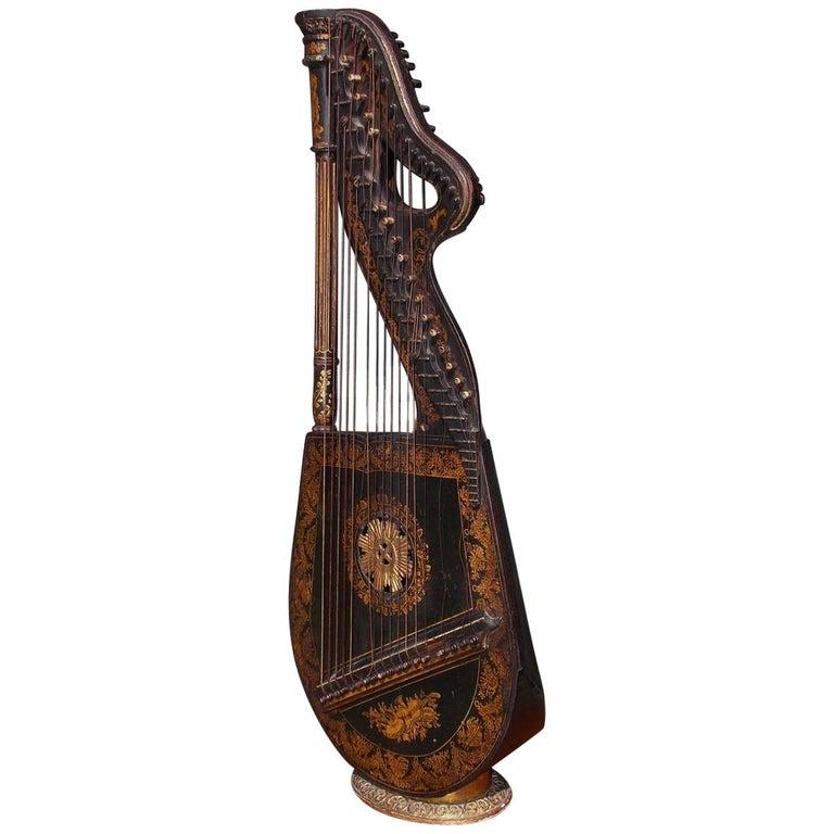 English Regency Gilt Figural and Ebonized Dital Harp, Maker E. Light, Circa 1815 For Sale