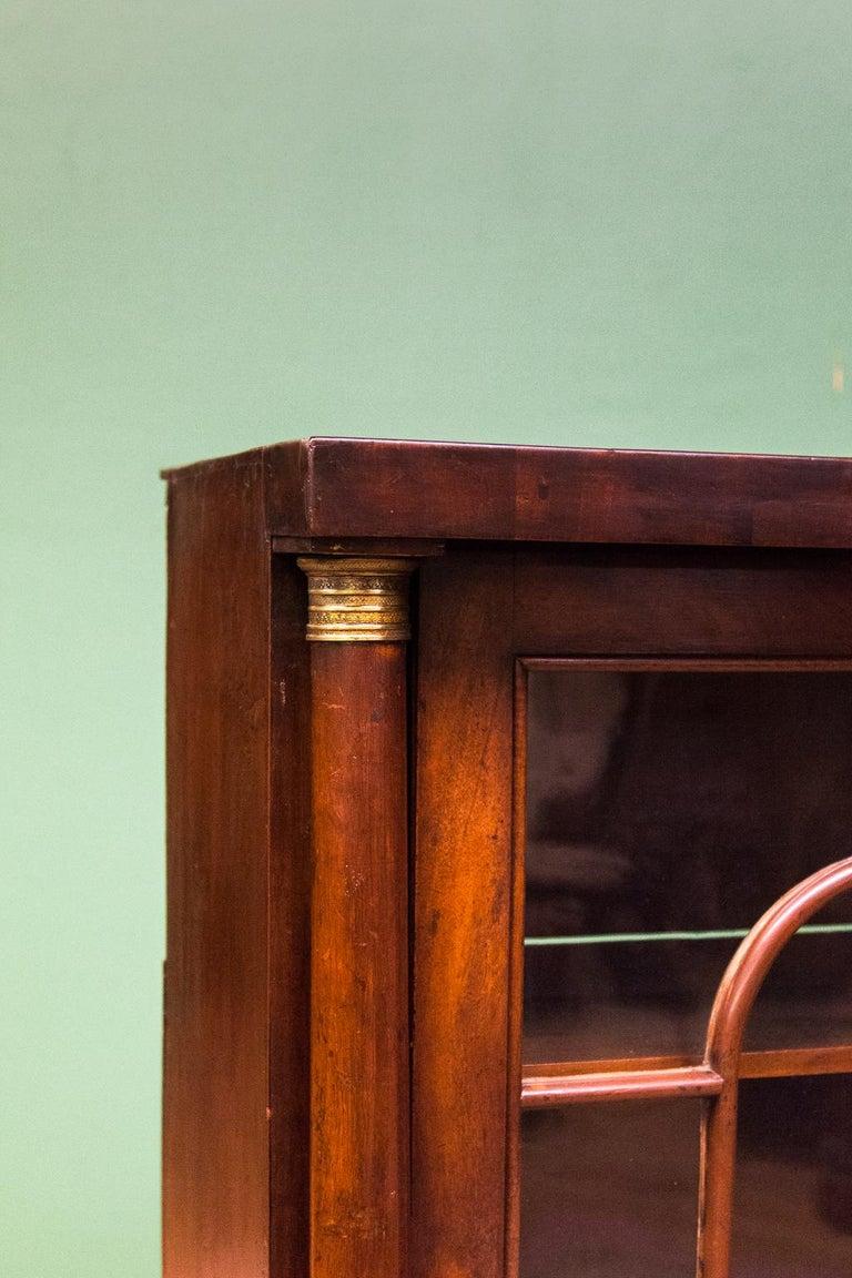 Brass English Regency Glass Door Bookcase For Sale