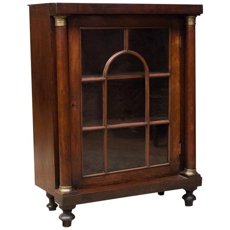 English Regency Glass Door Bookcase For Sale