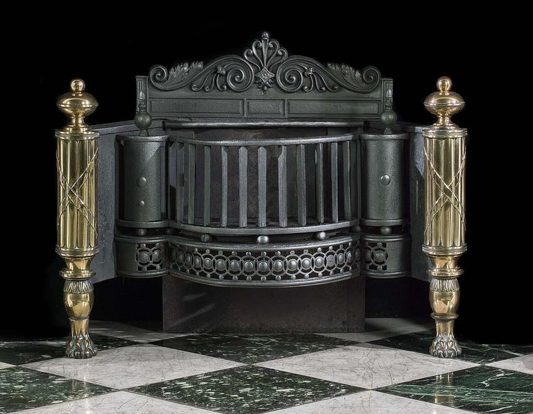 English Regency Iron, Steel and Brass Antique Fire Basket In Good Condition For Sale In London, GB