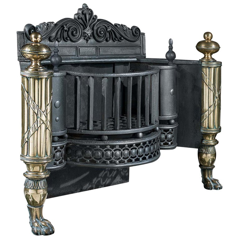English Regency Iron, Steel and Brass Antique Fire Basket For Sale