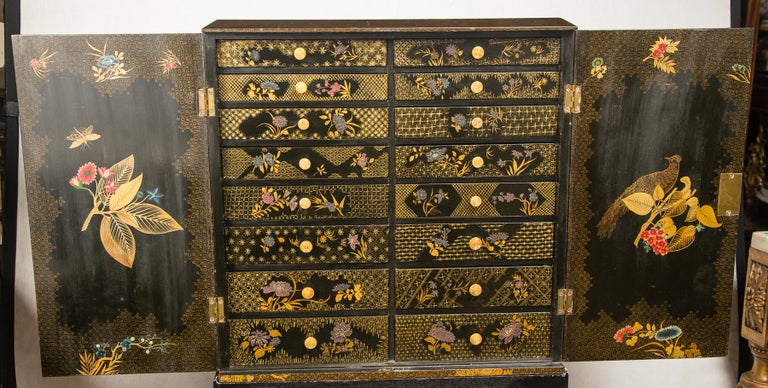 Hand-Crafted English Regency Lacquered Cabinet on Stand For Sale