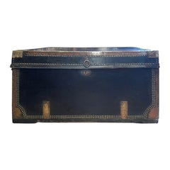 English Regency Leather & Brass Campaign Trunk, circa 1810