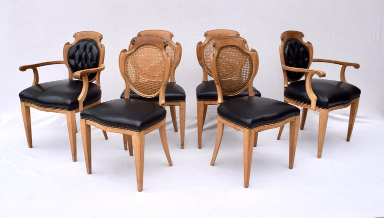 English Regency Leather and Caned Back Dining Chairs For Sale 7