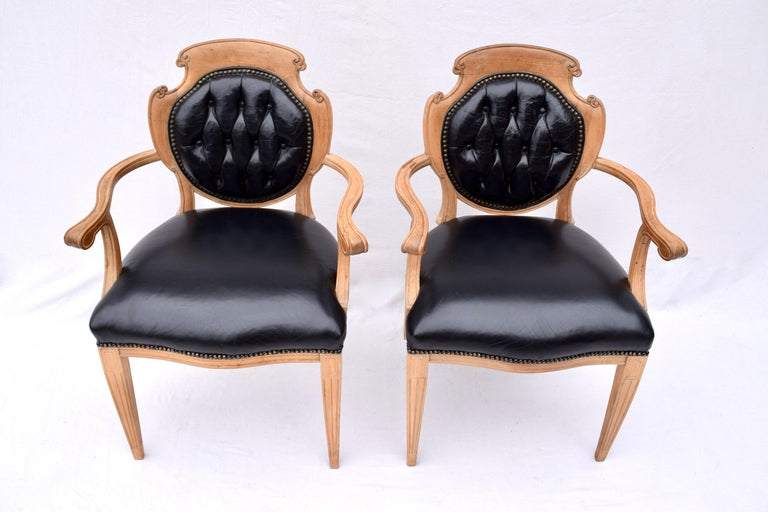 English Regency Leather and Caned Back Dining Chairs In Good Condition For Sale In Southampton, NJ