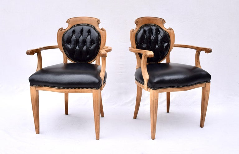 Brass English Regency Leather and Caned Back Dining Chairs For Sale