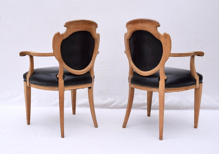 English Regency Leather and Caned Back Dining Chairs For Sale 1