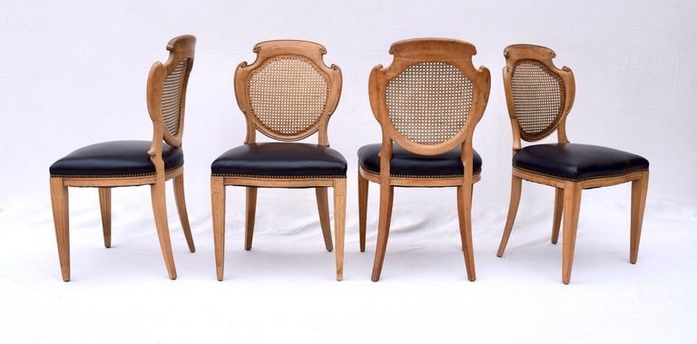 English Regency Leather and Caned Back Dining Chairs For Sale 2