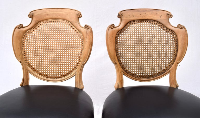 English Regency Leather and Caned Back Dining Chairs For Sale 3