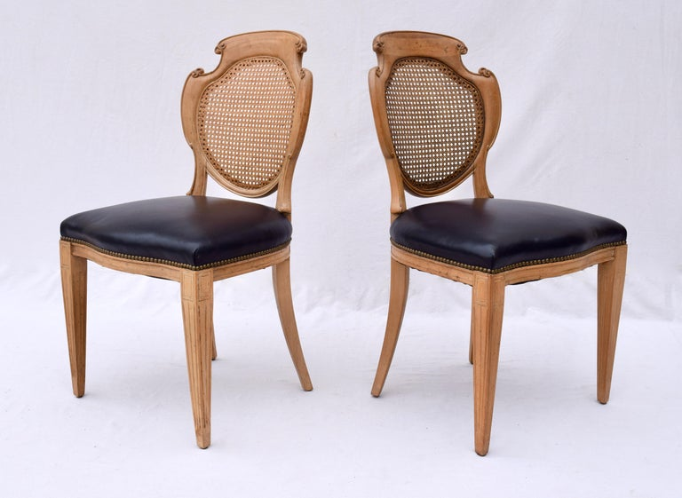 English Regency Leather and Caned Back Dining Chairs For Sale 4