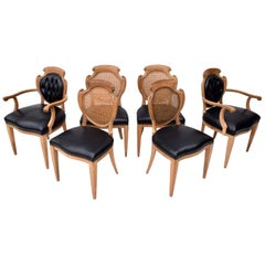 English Regency Leather and Caned Back Dining Chairs