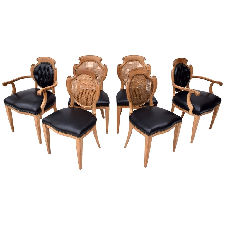 English Regency Leather and Caned Back Dining Chairs For Sale