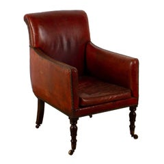 English Regency Leather Library Chair