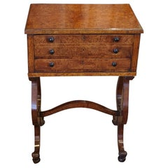 English Regency Lyre Ended Pollard Oak Worktable, circa 1815
