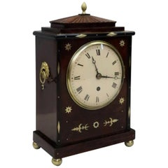 English Regency Mahogany and Brass Inlaid Timepiece Bracket Clock