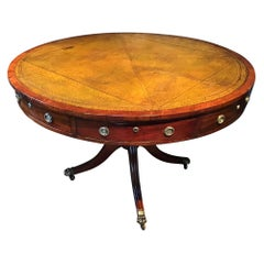 English Regency Mahogany and Leather Drum Table