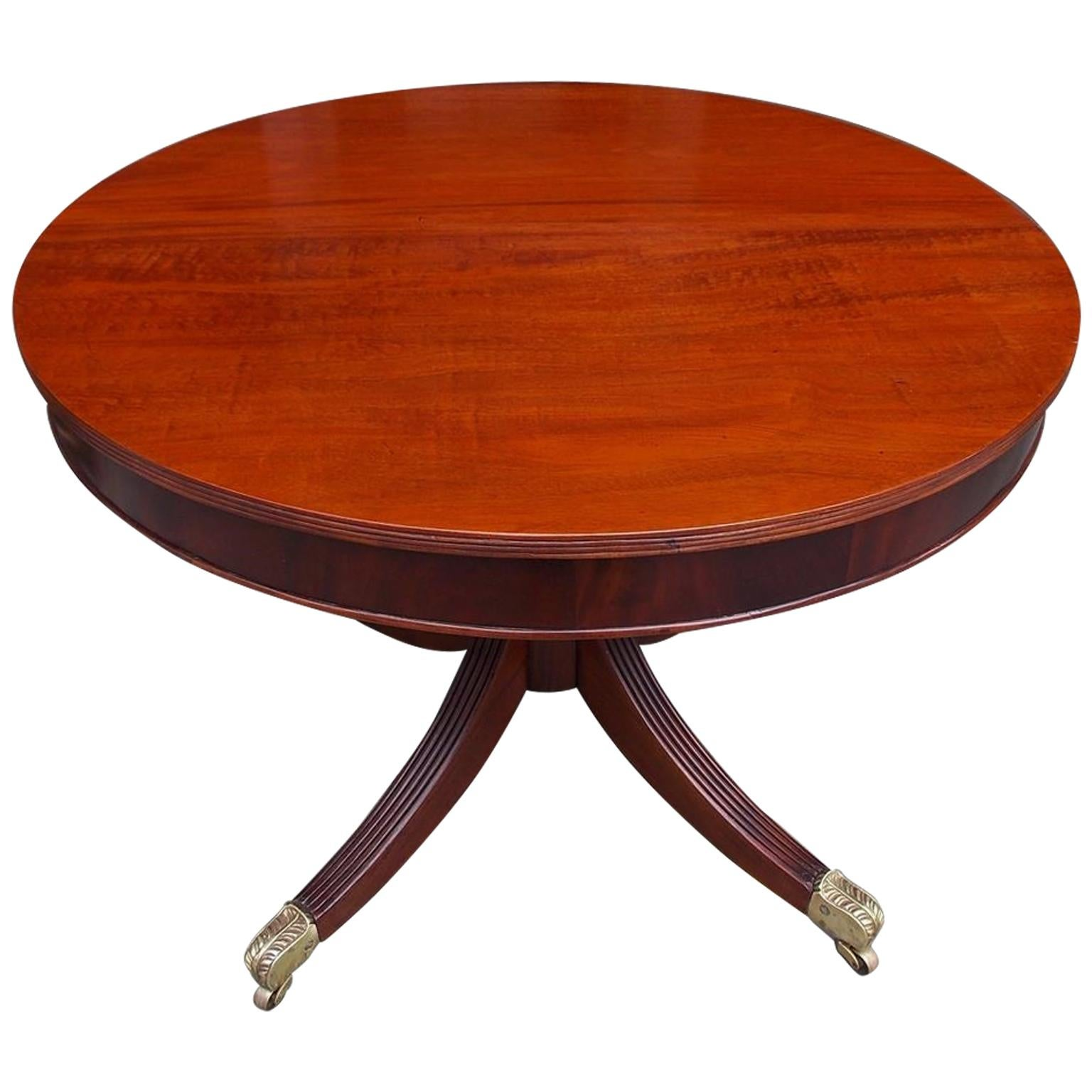 English Regency Mahogany Drum Table with Original Acanthus Brass Casters C. 1815
