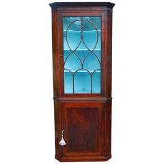 English Regency Mahogany Glazed Corner Cupboard of Small Size