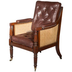 Antique Regency Mahogany Library Bergère Armchair, 19th Century
