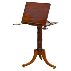 English Regency Mahogany Music or Book Stand with Candle Swing Arms, 1830's