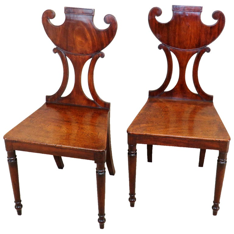 English Regency Mahogany Pair of Antique Hall Chairs