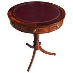 English Regency Mahogany Satinwood Inlaid Leather Top Drum Table, Circa 1815
