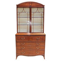 English Regency Mahogany Satinwood Inlaid Secretary with Bookcase, Circa 1800