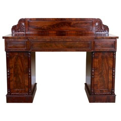 English Regency Mahogany Sideboard Early 19th Century Twin Pedestal Credenza