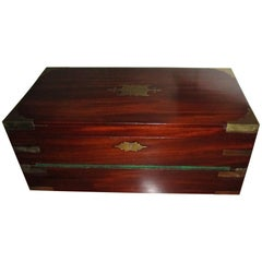 English Regency Mahogany Travelling Lap Desk Box with Secret Compartment