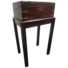English Regency Mahogany Travelling Lap Desk with Secret Compartment, on Stand