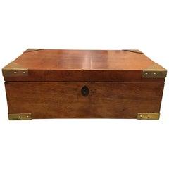 English Regency Mahogany Travelling Sloped Lap Desk Box, 19th Century