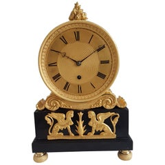 English Regency Mantel Clock in Ormolu and Derbyshire Black Marble Signed French