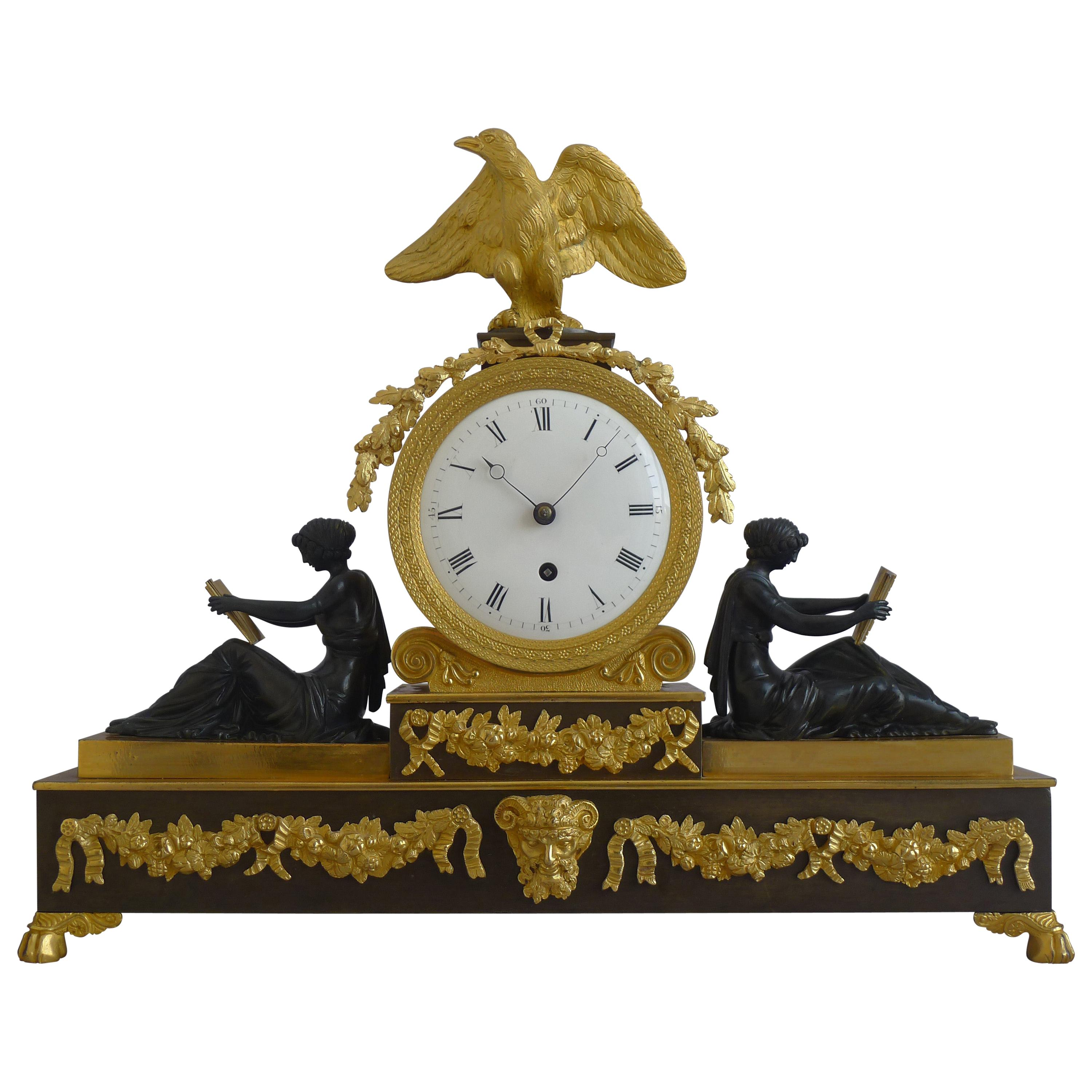 English Regency Neoclassical Library Clock