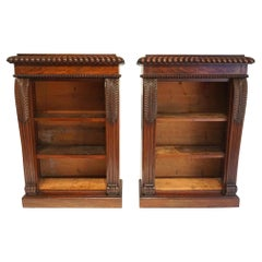 English Regency Neoclassical Mahogany Pair of Dwarf Open Bookcases, circa 1825