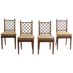English Regency Oak Bobbin Chairs Attributed to Gillows, Set of Four, circa 1825