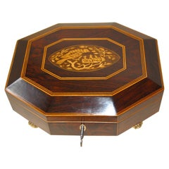 English Regency Octagonal Jewelry Box in Rosewood with Inlaid Bird and Chicks