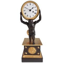 English Regency Ormolu and Patinated Bronze Mantel Clock of Atlas