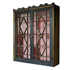 English Regency Painted Astragal Glazed Hanging Cupboard, circa 1810
