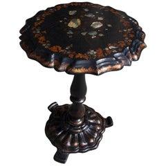 English Regency Papier Mâché Mother of Pearl Inlaid Gilt Tea Table, Circa 1815