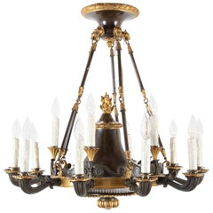 English Regency Patinated and Gilt Bronze 15-Light Chandelier
