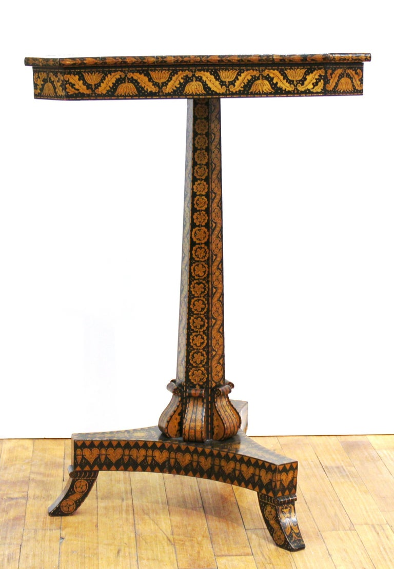 English Regency Penwork Table on Tripod Base In Good Condition For Sale In New York, NY