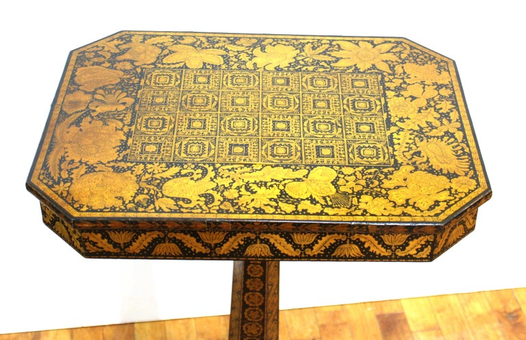 Early 19th Century English Regency Penwork Table on Tripod Base For Sale