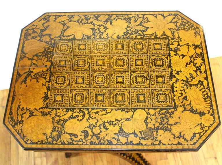 Wood English Regency Penwork Table on Tripod Base For Sale