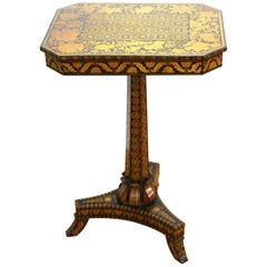 English Regency Penwork Table on Tripod Base